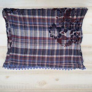 Eddie Bauer Floral Blue Plaid Cotton Crinkle Scarf